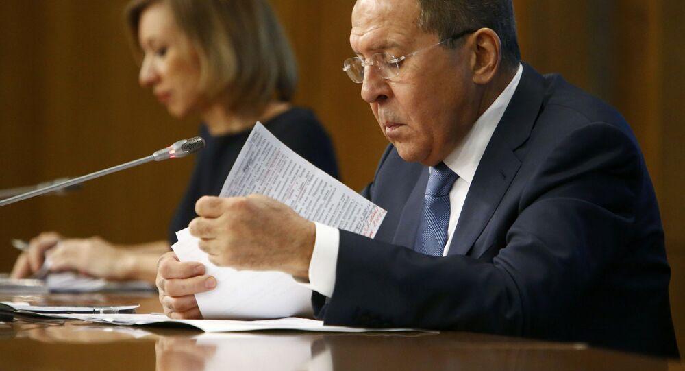 Minister spraw zagranicznych Rosji Siergiej Ławrow na konferencji prasowej