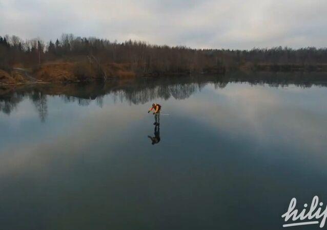 Odlotowe łyżwy na zamarzniętym jeziorze