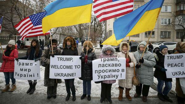 Pikieta popracia dla prezydenta elekta USA Donalda Trumpa - Sputnik Polska
