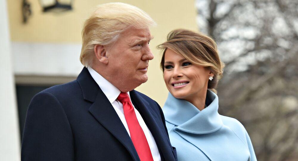 Prezydent USA Donald Trump i jego żona Melania przed rozpoczęciem ceremonii inauguracji
