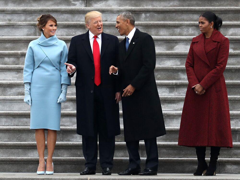 Donald Trump, Barack Obama i ich żony Melania i Michelle