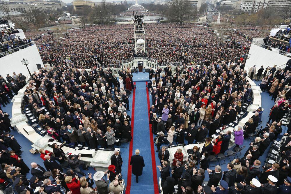 Donald Trump podczas ceremonii inauguracji