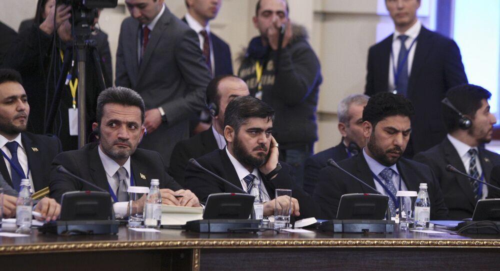 Rozmowy nt. konfliktu w Syrii, Astana. Na zdjęciu Mohammad Alloush reprezentujący syryjską opozycję
