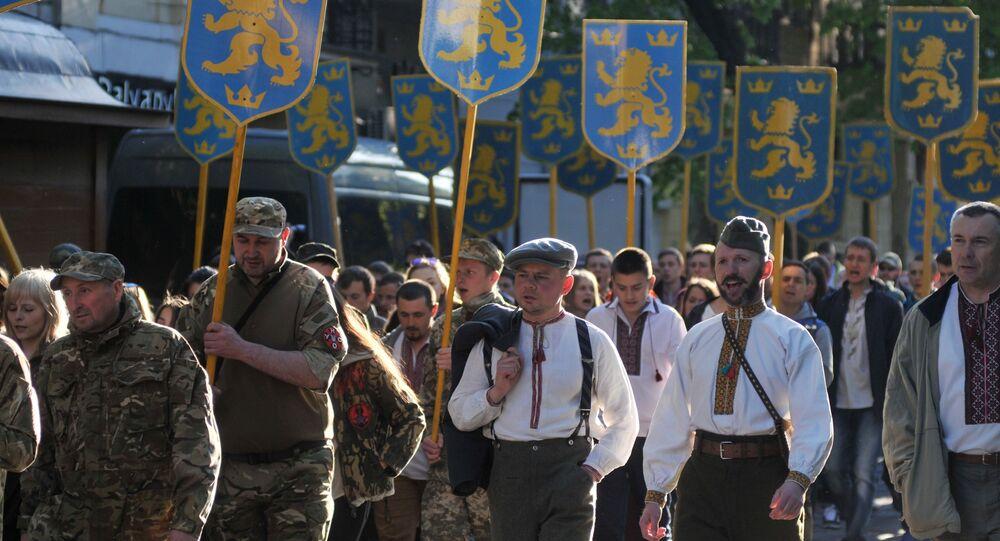 Marsz z okazji rocznicy utworzenia dywizji SS Galicja, Lwów