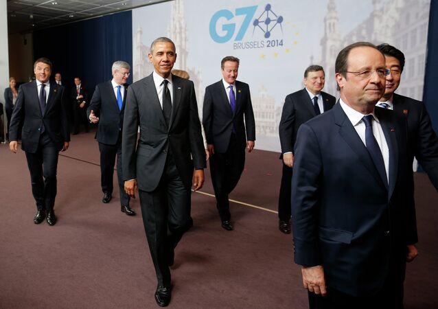 Politycy rozchodzą się po wspólnym zdjęciu na G7