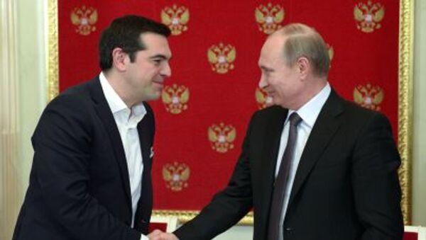 Prezydent Rosji Władimir Putin i premier Grecji Alexis Tsipras - Sputnik Polska