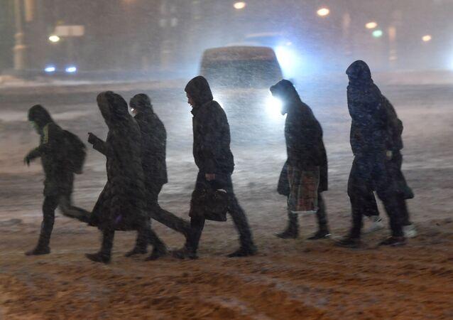 Śnieżyca w Moskwie