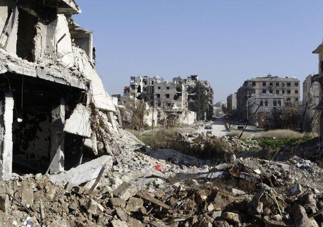 Zburzone domy w Aleppo