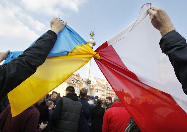 Flaga Ukrainy i flaga Polski, Warszawa, Polska