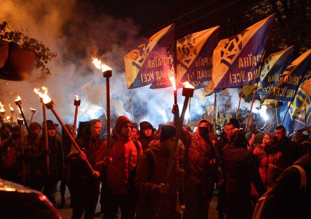 Marsz zwolenników UPA na Ukrainie