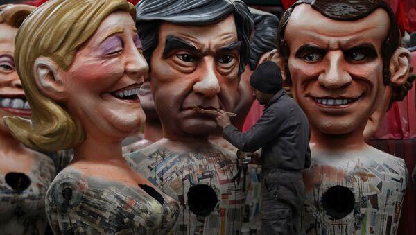 Karykatura kandydatów na urząd prezydenta Francji: François Fillona, Marine Le Pen i Emmanuela Macrona - Sputnik Polska