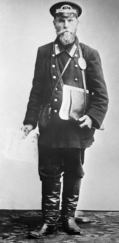 Moskiewski gazeciarz, sprzedawca Birżewych wiedomostiej (Gazety giełdowej), 1913