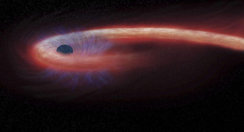 Artystyczne wyobrażenie czarnej dziury w gwiazdozbiorze Panny pochałaniającej rekordowe ilości materii