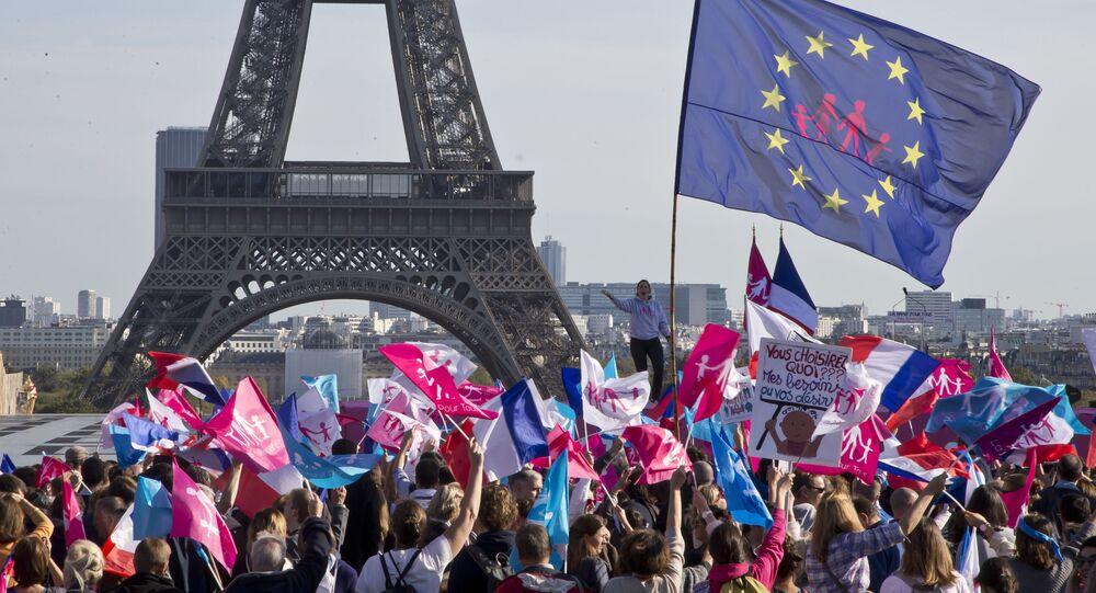 Demonstranci pod wieżą Eiffla protestują przeciwko małżeństwom homoseksualnym