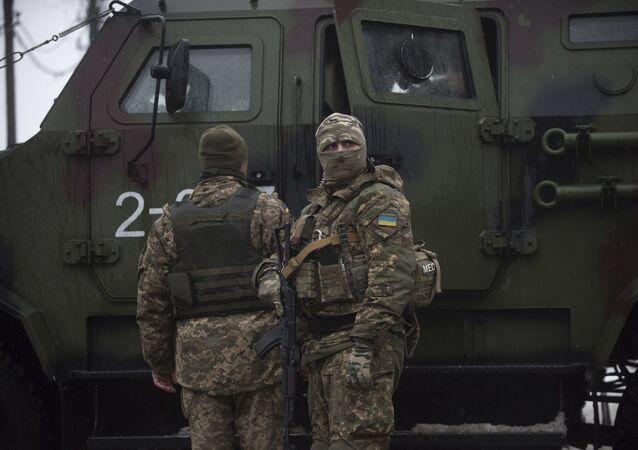 Ukraińscy żołnierze w Awdijiwce