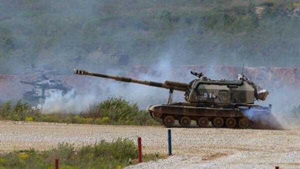 Samobieżna haubicoarmata MSTA-S podczas pokazu sprzętu wojskowego w obwodzie moskiewskim. - Sputnik Polska
