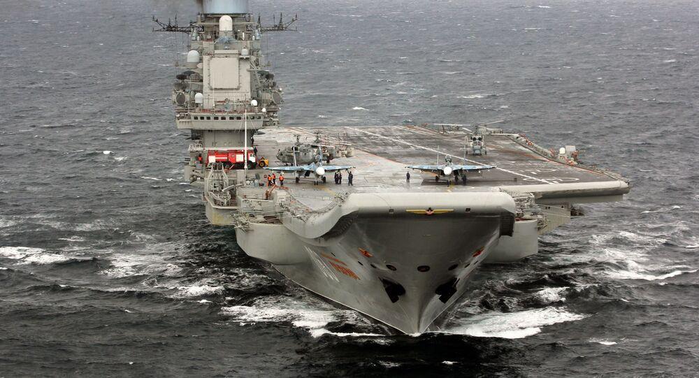 """Ciężki krążownik lotniczy """"Admirał Kuzniecow"""" na Oceanie Atlantyckim"""