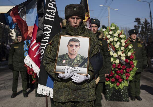 Pogrzeb zamordowanego dowódcy batalionu Somali Michaiła Tołstycha - Giwi