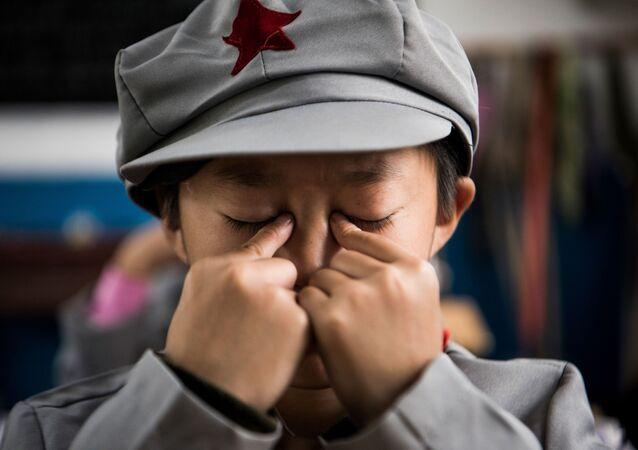 Uczniowie szkoły podstawowej Wenshui w Chinach