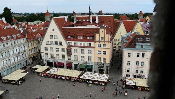 Widok z góry na Plac Ratuszowy w Tallinie - Sputnik Polska