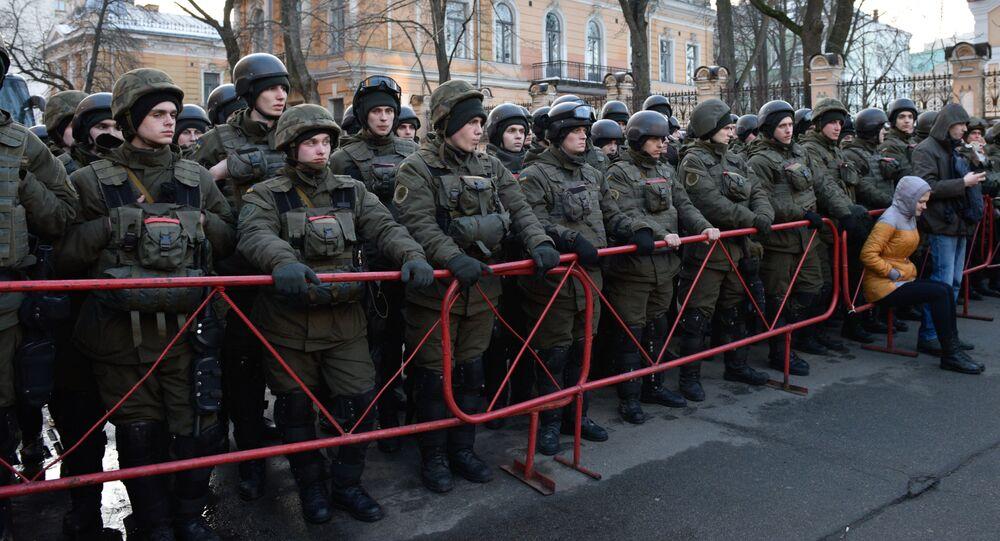 Zabezpieczenie akcji protestacyjnych z okazji rocznicy Majdanu w Kijowie