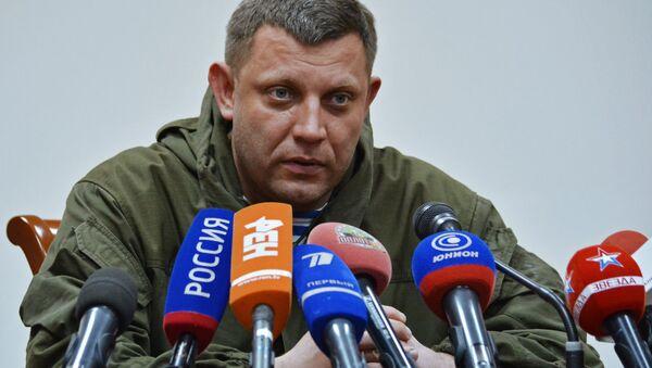 Szef DRL Aleksander Zacharczenko na konferencji prasowej w Doniecku - Sputnik Polska