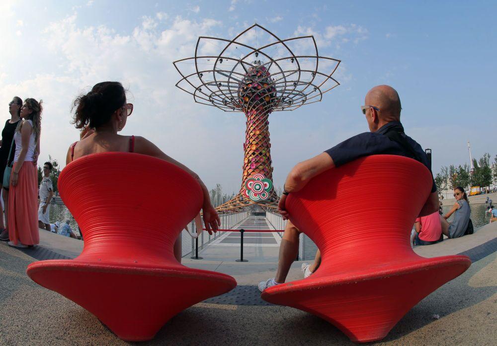 Zwiedzający Wystawę Światową EXPO 2015 w Mediolanie.