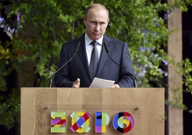 Prezydent Rosji Władimir Putin w Mediolanie na światowej wystawie EXPO