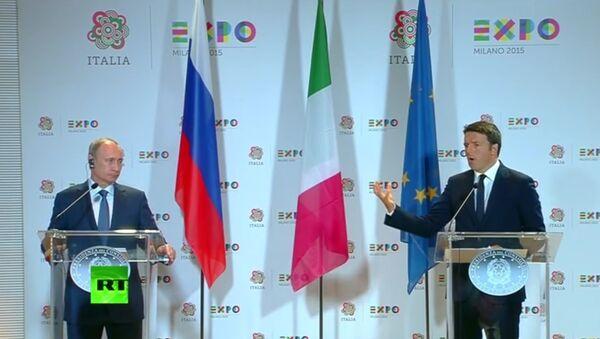 Konferencja prasowa Wadimira Putina i Matteo Renzi - Sputnik Polska