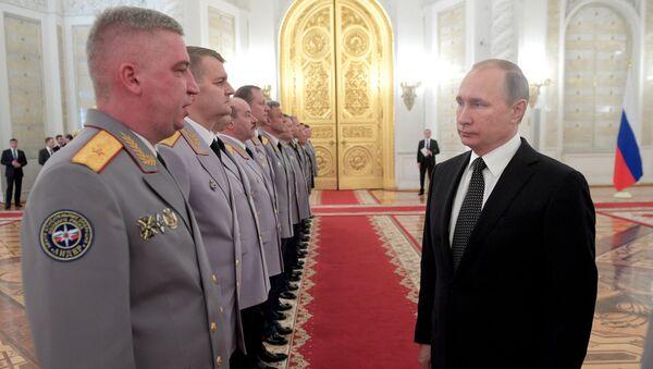 Prezydent Rosji Władimir Putin na spotkaniu z najwyższymi oficerami na Kremlu - Sputnik Polska