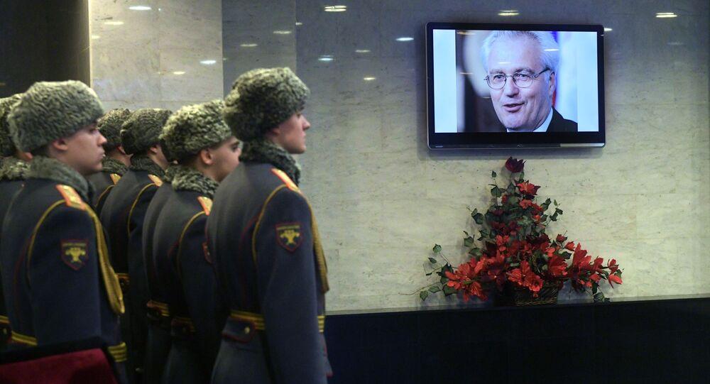 Uroczystość pożegnalna zmarłego Witalija Czurkina, stałego przedstawiciela Rosji przy ONZ
