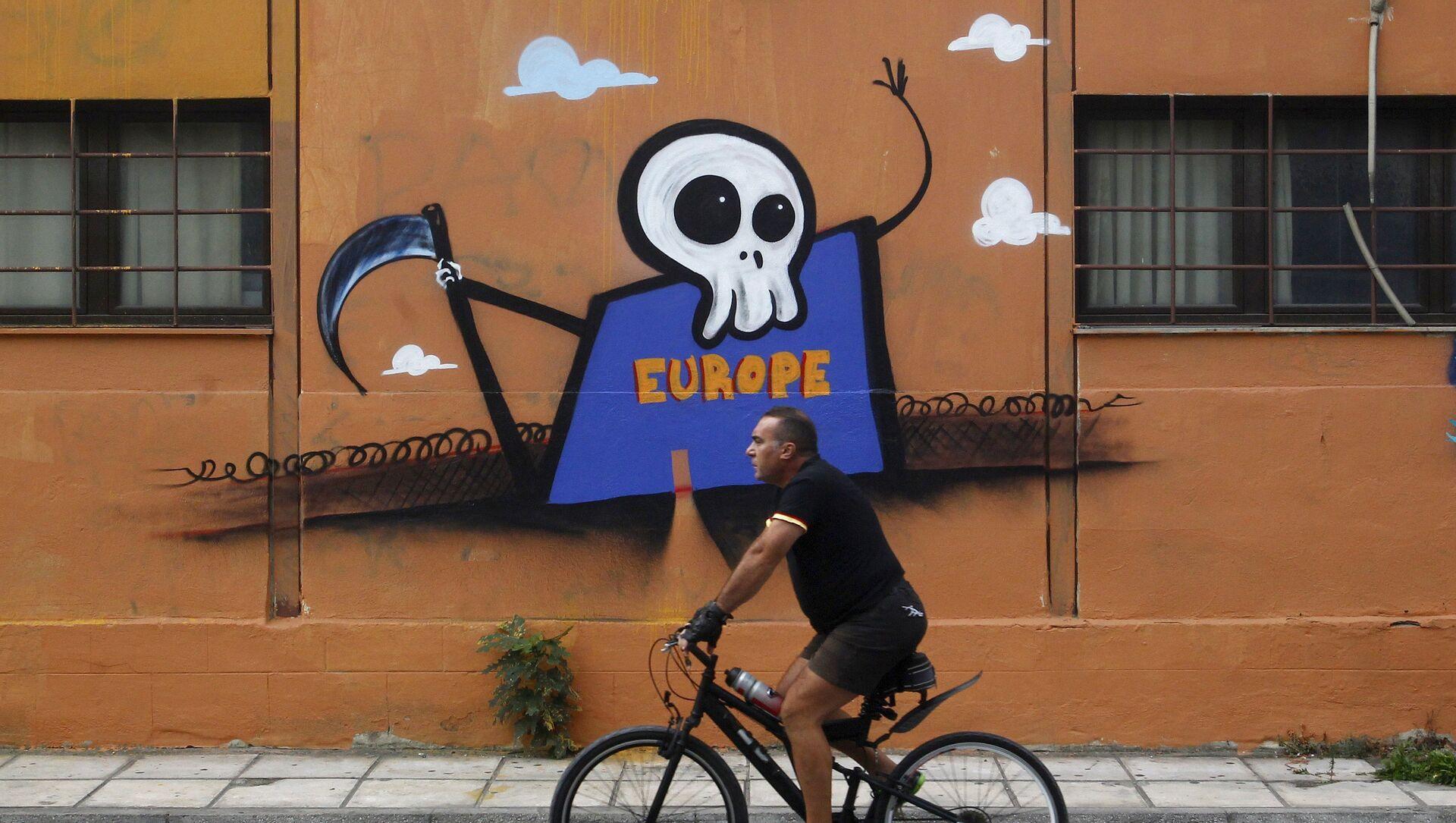 Graffiti przedstawiające Europę jako Ponurego Kosiarza - Sputnik Polska, 1920, 10.02.2021