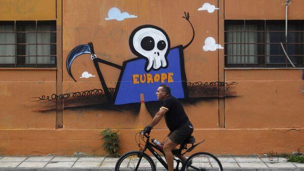 Graffiti przedstawiające Europę jako Ponurego Kosiarza - Sputnik Polska
