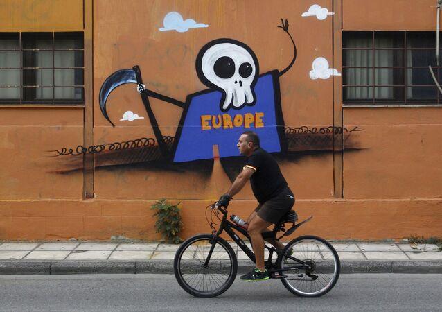 Graffiti przedstawiające Europę jako Ponurego Kosiarza
