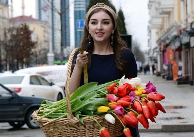 Sprzedaż kwiatów 8 marca w Groznym