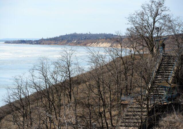Wybrzeże Morza Azowskiego w pobliżu Mariupola. Zdjęcie archiwalne