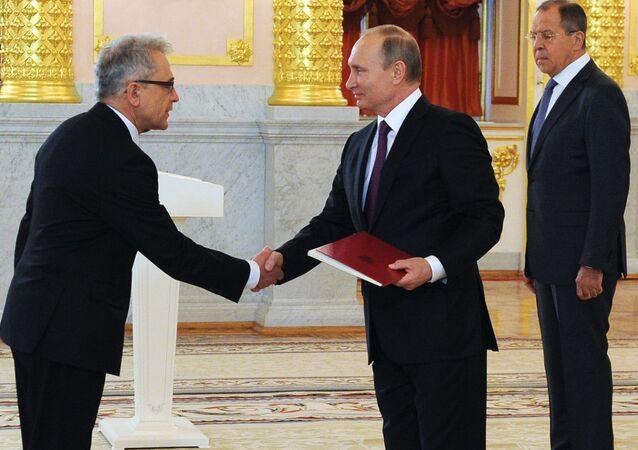 Władimir Putin i ambasador RP Włodzimierz Marciniak