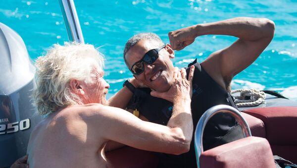 Były prezydent USA Barack Obama i milioner Richard Branson podczas urlopu na wyspie Branson's Moskito - Sputnik Polska