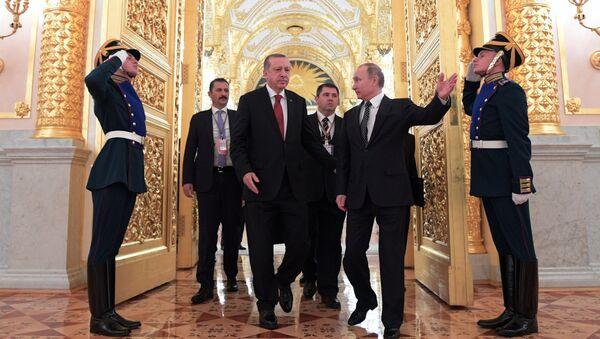 W piątek odbyły się rozmowy rosyjskiego przywódcy Władimira Putnia z prezydentem Turcji Recepem Tayyipem Erdoganem - Sputnik Polska