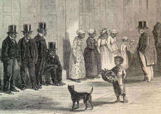 Rysunek Niewolnicy na sprzedaż, 1861 rok