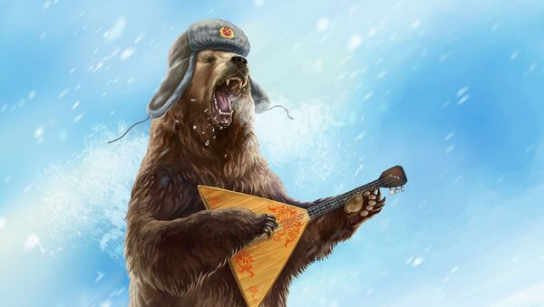 Karykaturalny obraz niedźwiedzia w futrzanej czapce z bałałajką - Sputnik Polska
