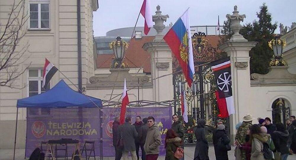 Dialog Polsko Rosyjski II, 11 marca 2017 r. — przed Pałacem Prezydenckim na Krakowskim Przedmieściu w Warszawie