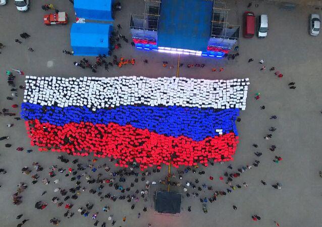 Studenci w Sewastopolu stworzyli rosyjską flagę