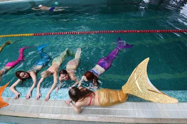 Pływanie z ogonem syreny poprawia postawę, wzmacnia mięśnie brzucha i pomaga schudnąć. - Sputnik Polska