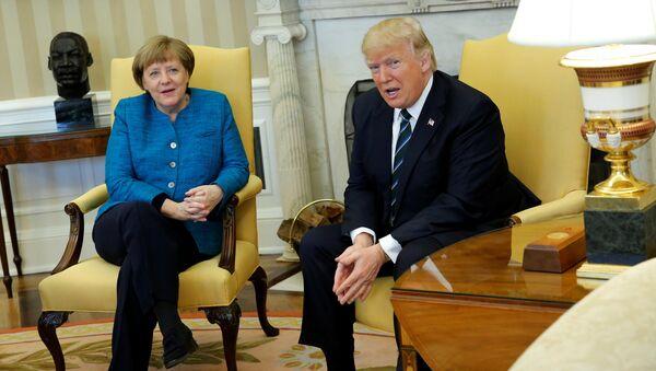 Spotkanie prezydenta USA Donalda Trumpa i kanclerz Niemiec Angeli Merkel w Waszyngtonie, 17 marca 2017 roku. - Sputnik Polska