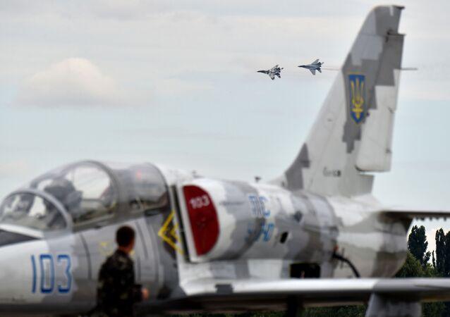 Ukraińskie myśliwce MiG-29 w czasie ćwiczeń wojskowych