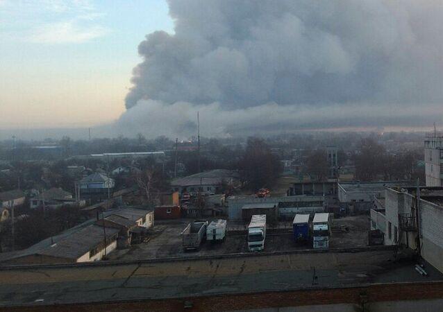 Pożar w składzie amunicji, obwód charkowski
