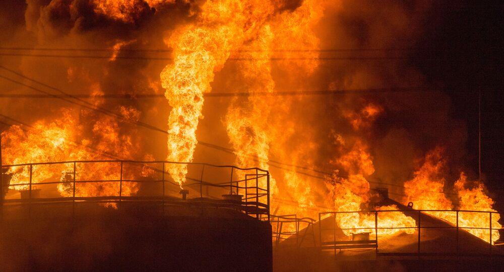 Pożar w bazie paliwowej pod Kijowem