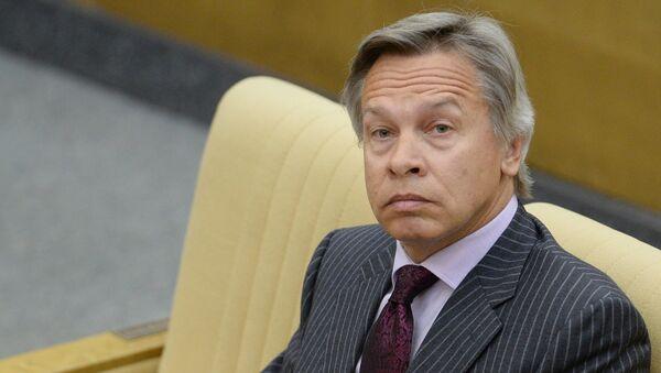 Przewodniczący Komisji Spraw Zagranicznych Dumy Państwowej Rosji Aleksiej Puszkow - Sputnik Polska