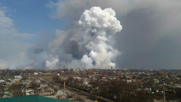 Pożar na skladzie amunicji w mieście Bałaklija w obwodzie charkowskim - Sputnik Polska
